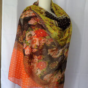 HUGE Brown Orange Floral Polka Dot Scarf Wrap